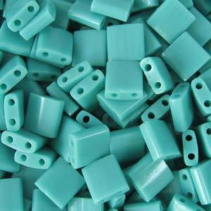 Tila Bead, 5mm, Opaque Turquoise Green