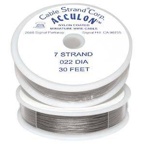 Acculon Beading Wire: 9m roll - Clear (silver grey), .022 DIAMETER