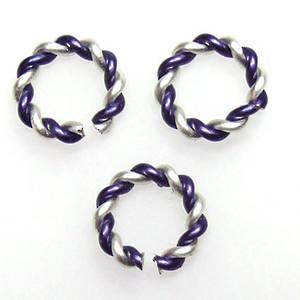 Twisted Jumpring, silver/dark blue