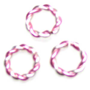 Twisted Jumpring, silver/light pink