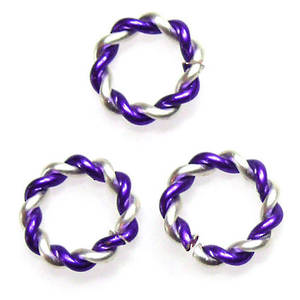 Twisted Jumpring, silver/purple