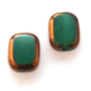 Window Bead, 7mm x 10mm - Opaque Green and Gold