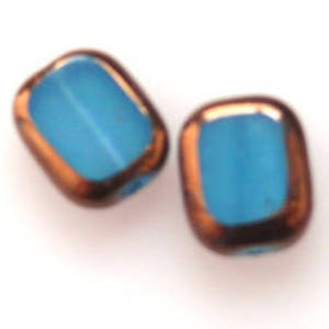 Window Bead, 9mm x 11mm - Opaque Blue and Gold