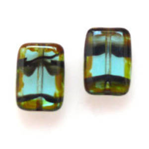 Window Bead, 8mm x 12mm - Transparent Green Tortie
