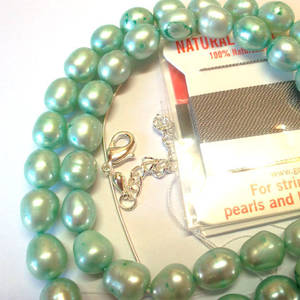 KITSET, Pearl Necklace, 8mm light teal freshwater pearls, grey silk thread