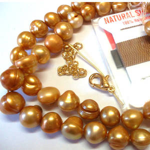 KITSET, Pearl Necklace, 7mm gold freshwater pearls, brown silk thread