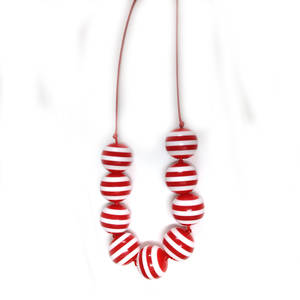 KITSET: Beach Babe Necklace: Red and White stripes