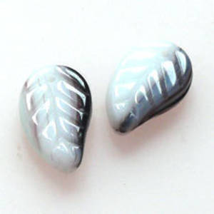 Flat Leaf, 8mm x 14mm - Purple/Aqua/White opaque