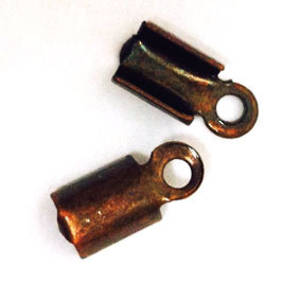 Fold Over Crimp (leatherend) - regular, 5mm: Antique Copper