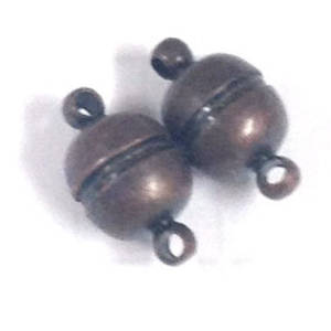 Magnetic clasp, plain ball - antique copper