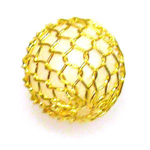 White acrylic ball with gold mesh over