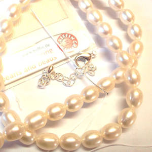 KITSET, Pearl Necklace, 8mm cream freshwater pearls, white silk thread