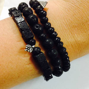 KITSET: Stacked Bracelets: Black Lava Rock