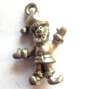 Metal Charm: Waving Santa - antique silver