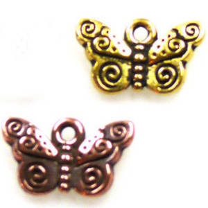 Metal Charm, butterfly with spiraled wings
