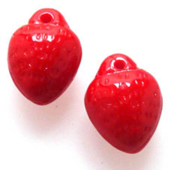 NEW! Opaque Red Glass Strawberry Pendant, 8mm x 10mm