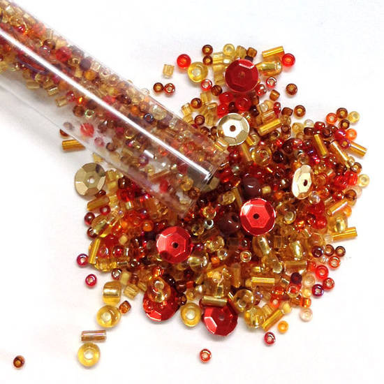 Chinese Seed Bead Mix - reds and ambers
