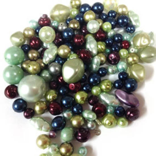 NEW! Glass Pearl Mix: Rich Peacock