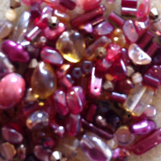 Pressed Glass Bead MIX, rubys and browns