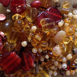 Pressed Glass Bead MIX, ambers