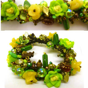 Garden Bracelet Kitset with fimo flowers, greens and browns