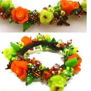 Garden Bracelet Kitset with fimo flowers, red and green