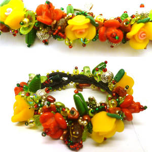 Garden Bracelet Kitset with fimo flowers, yellow and red and green