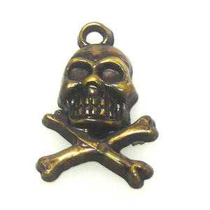 Acrylic Charm, skull and cross bones - antique brass