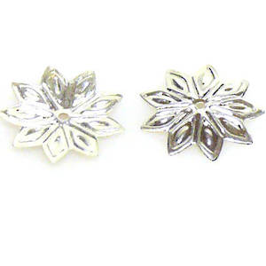 Bright Silver Bead Cap, 12mm, flat flower