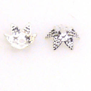 Bright Silver Bead Cap, 8mm, star like