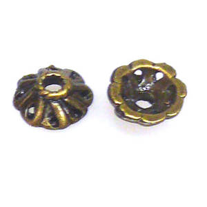 Antique Brass Bead Cap, 8mm, cast, flower like