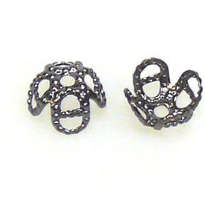 Gunmetal Bead Cap, 7mm, flower like