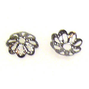 Gunmetal Bead Cap, 6mm, flower like