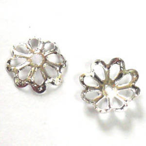 Bright Silver Bead Cap, 8mm, flower like