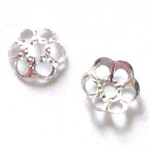 Bright Silver Bead Cap, 4mm, flower like