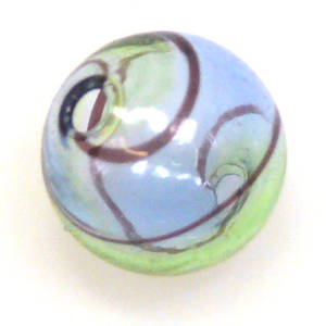 Chinese Blown Glass, Blue, Green, Black ball