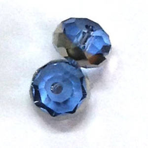 Chinese Crystal, 8mm rhondelle - Lt Sapphire with silver stripe