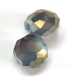 Chinese Crystal, 12mm rhondelle - Opaque Milky Grey Purple/Gold AB