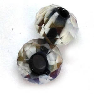 Chinese Lampwork Facet, Black and White stripes