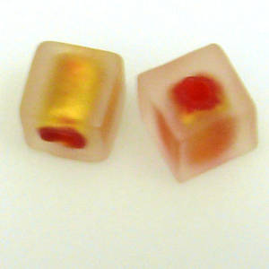 Chinese Lampwork, Frosted Gold Cube with Red Lining