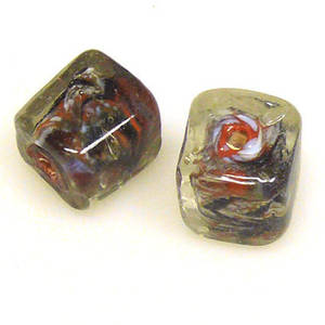 Indian Lampwork, Tan/Black/White/Clear Cube