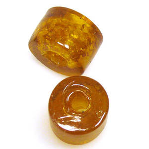 Indian Lampwork, Short Tube, Amber