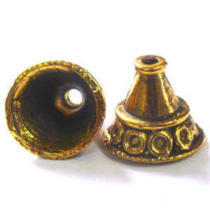 Antique Gold Cone, bell triangle shaped with circle detail