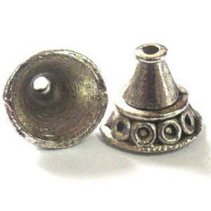 Antique Silver Cone, bell triangle shaped with circle detail