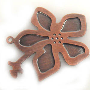 Metal Charm, thin stamped copper flower