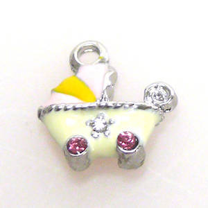 Enamelled Metal Charm,  Baby Carriage