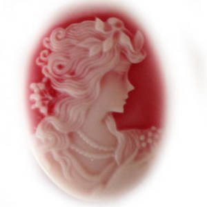 Cameo Cabochon: Red and white oval 28x38mm, classical female head.