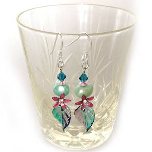 Europa Earrings: Teal and Pink