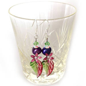 Europa Earrings: Raspberry, Purple and Green