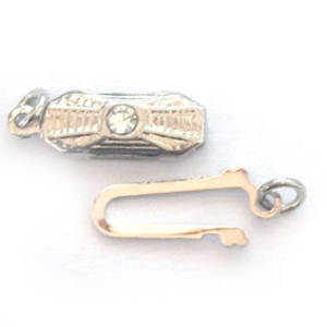 Fish Clasp: Rectangular deco style with diamante - Antique Silver